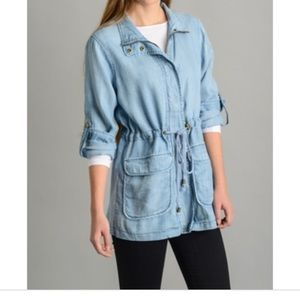 Skies Are Blue Chambray Utility Jacket